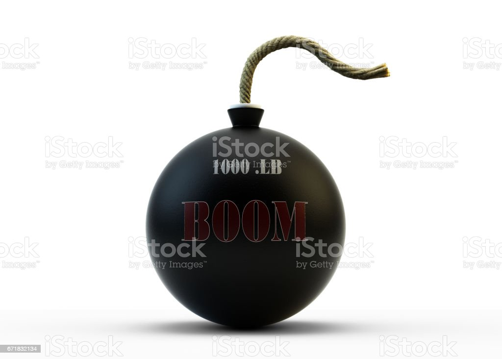 Sphere Bomb With Fuse On White stock photo