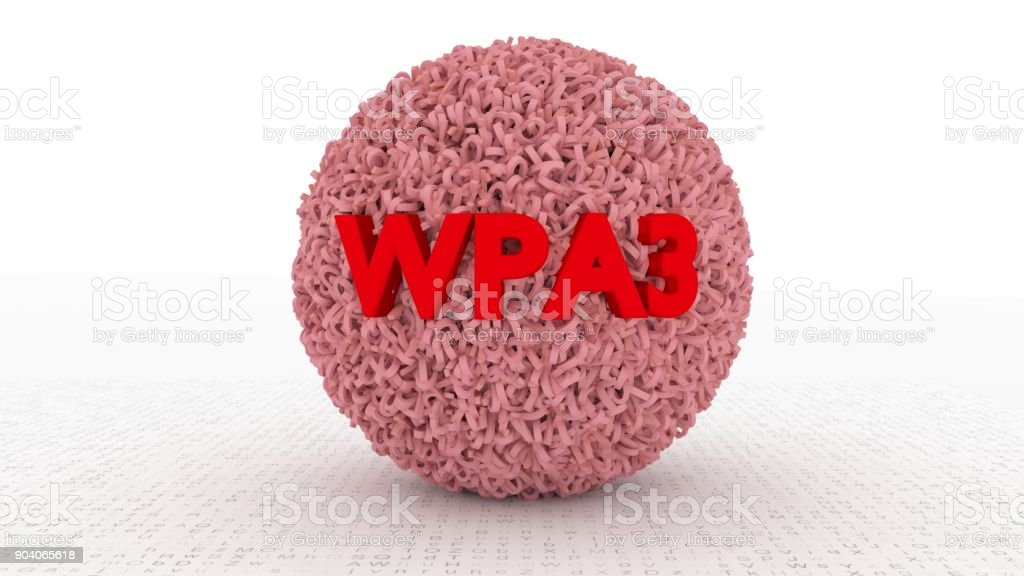 Sphere emitting binary numbers and the text WPA3 in red stock photo