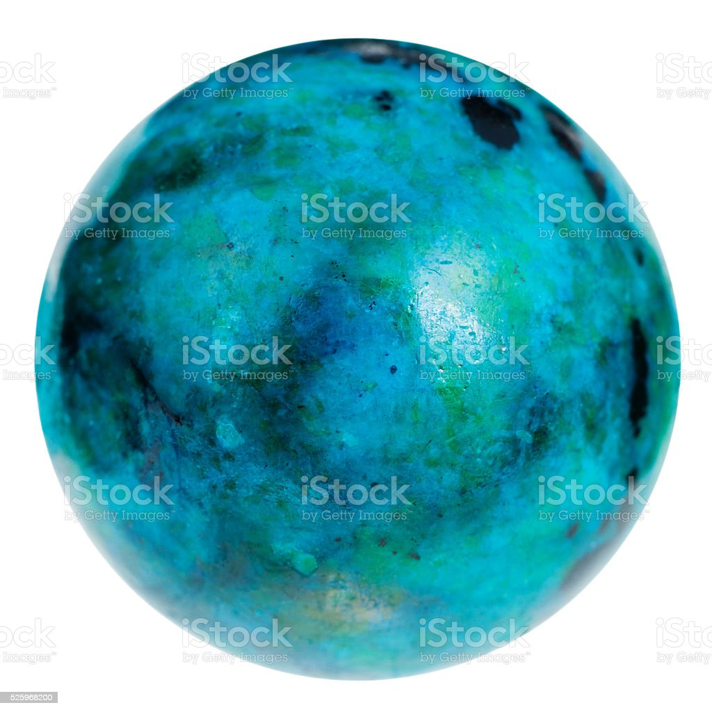sphere from blue chrysocolla gemstone isolated stock photo