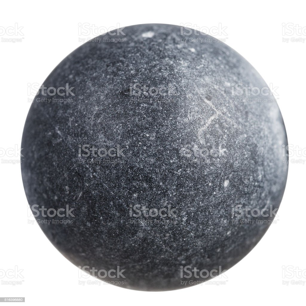 sphere from gray shungite mineral gemstone stock photo