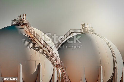 Sphere gas tanks in refiney plant