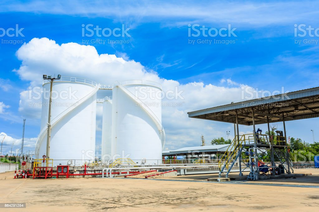 Sphere gas tanks on Petrochemical Plant royalty-free stock photo