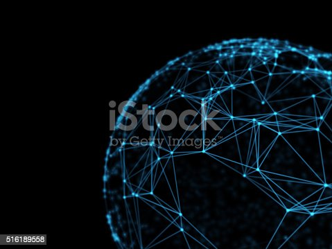 istock Sphere geometry orb and polygonal lines and dots. Futuristic Technology 516189558