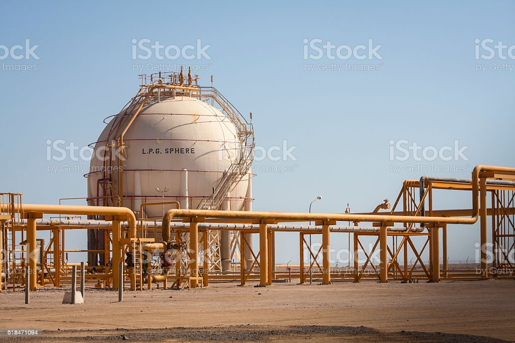 LPG Sphere in Gas Processing Plant stock photo