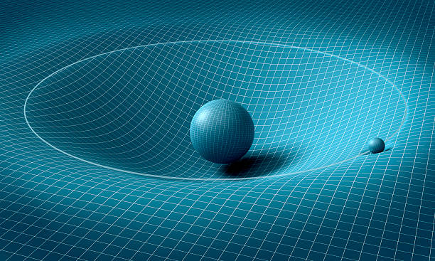 sphere is affecting space / time around it - physics stock photos and pictures