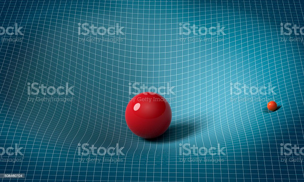 sphere is affecting space / time around it stock photo
