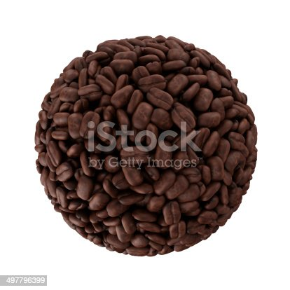 istock Sphere made from coffee beans isolated on white background 497796399