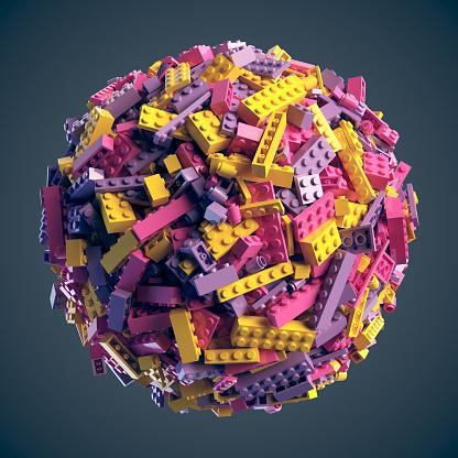 istock Sphere made of random colored toy blocks. 3D Rendering 900413730