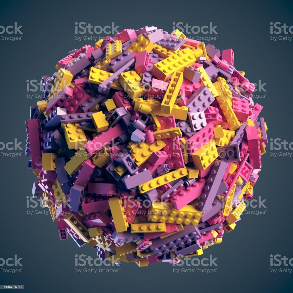 Esfera feita de blocos de brinquedo coloridos aleatórios. Renderização 3D - foto de acervo