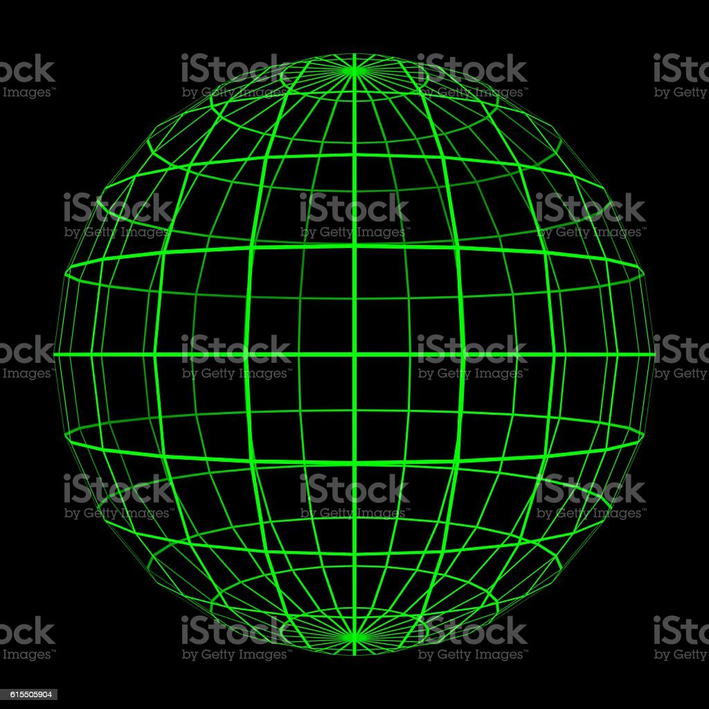 3D Sphere Mesh with Glowing Green Grid Lines 3D Illustration