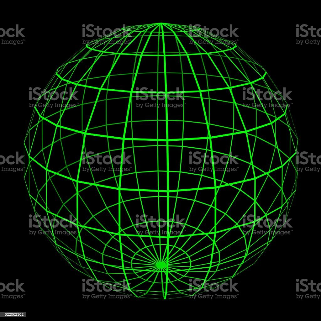 3D Sphere Mesh with Glowing Green Grid Lines 3D Illustration stock photo
