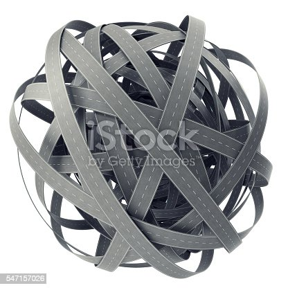 istock Sphere of tangled roads, on cyan background. 3d illustration 547157026