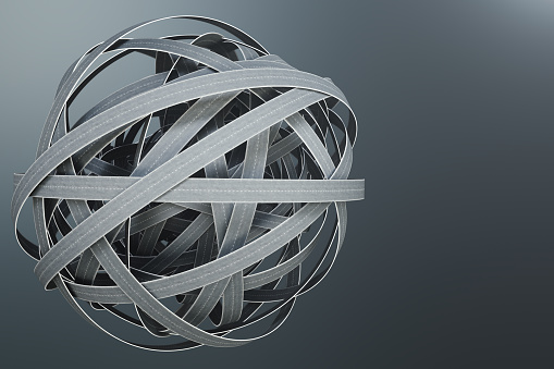 istock Sphere of tangled roads, on grey background. Abstract road knot. Concept travel, transportation. 3D illustration 1023070462