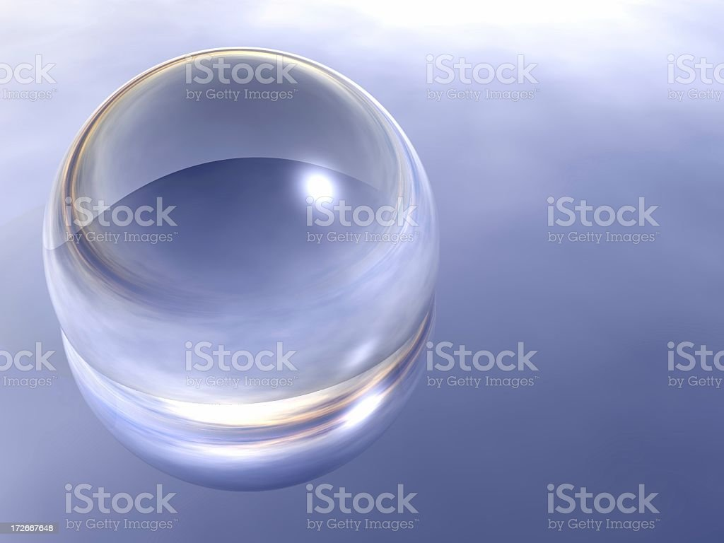 sphere on a reflective plane royalty-free stock photo
