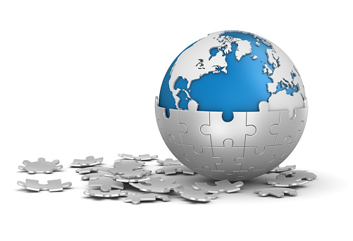 Sphere Puzzle And World Map Stock Photo - Download Image Now