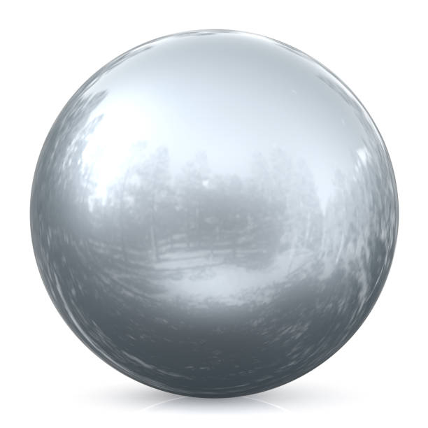 sphere round button silver white ball chrome basic circle object - mercury metal stock photos and pictures