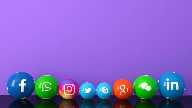 紫色桌子上的大理石社交媒體服務圖示的球狀形狀 - twitter 個照片及圖片檔