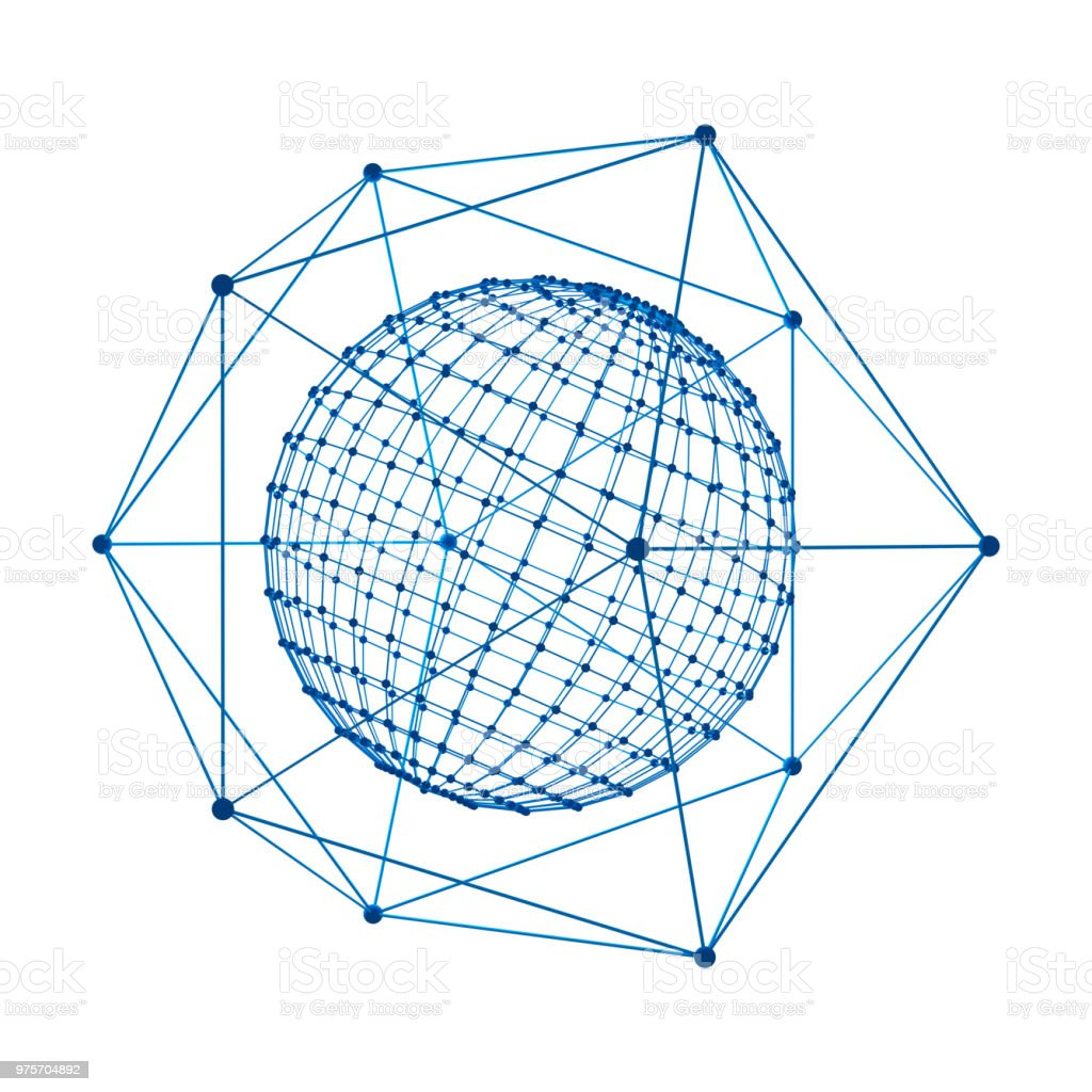 Sphere with digital data and blue network connection lines for technology concept isolated on white background, 3d abstract shape illustration stock photo