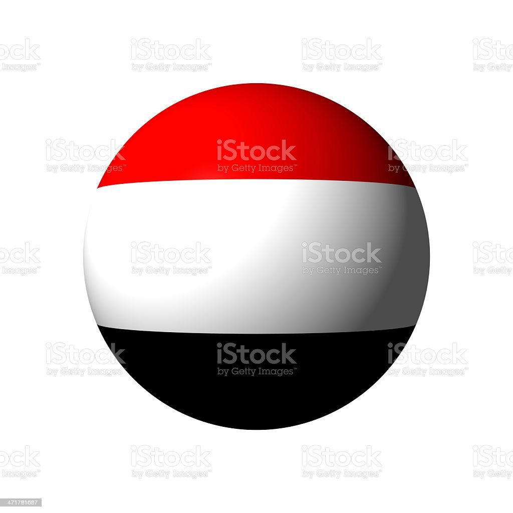 Sphere with flag of Yemen royalty-free stock photo