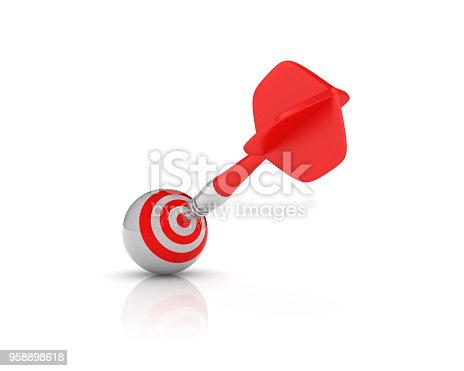 istock Sphere with Target and Dart - 3D Rendering 958898618