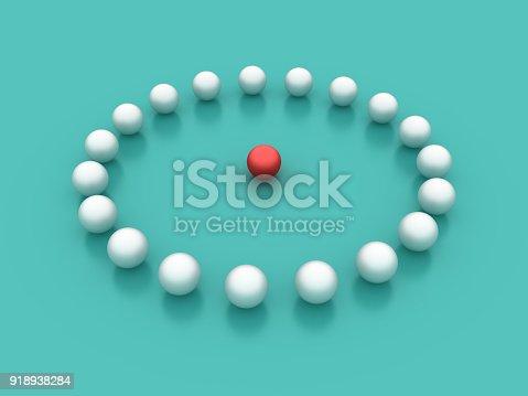 istock Spheres Circle - 3D Rendering 918938284
