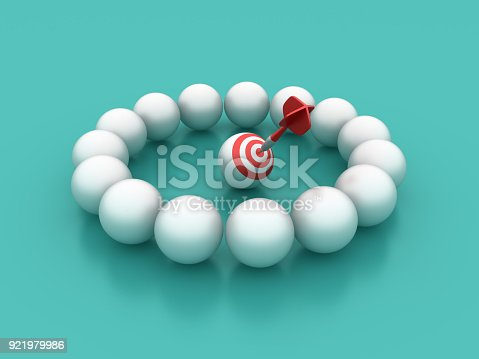 istock Spheres Circle with Target - 3D Rendering 921979986