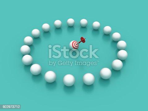 istock Spheres Circle with Target - 3D Rendering 922973712
