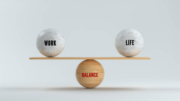 spheres forming scale with the words WORK, LIFE and BALANCE - 3d rendered illustration stock photo