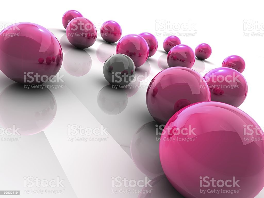 Spheres illustrating the concept of individuality royalty-free stock photo