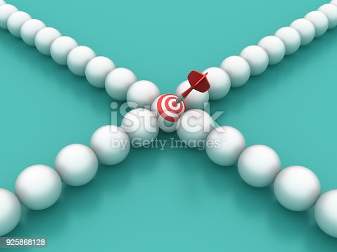 istock Spheres in a Row with Target - 3D Rendering 925868128