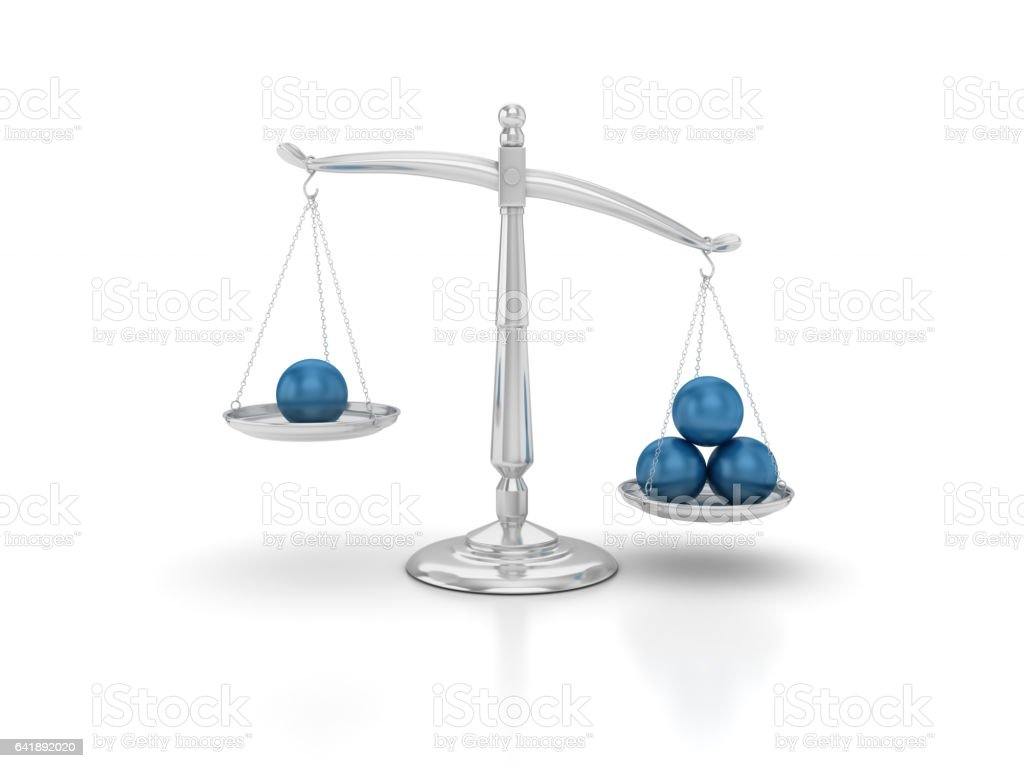Spheres on Scales of Justice - 3D Rendering stock photo