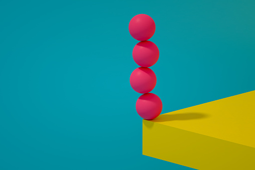 3d rendering spheres on table corner. Leadership, business, strategy concept.