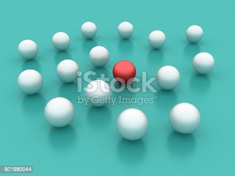 688372024istockphoto Spheres One Red - 3D Rendering 921980044