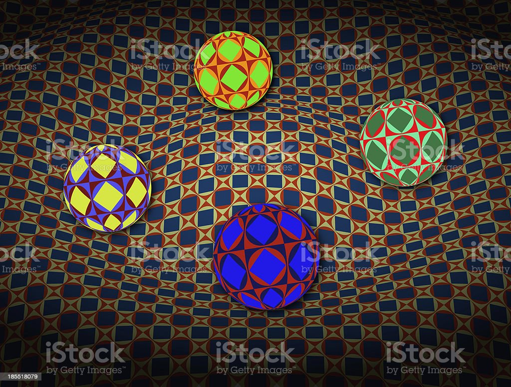 Spheres Over 3D Surface royalty-free stock photo