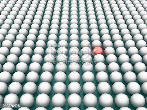 istock Spheres Pattern One Red - 3D Rendering 919570426