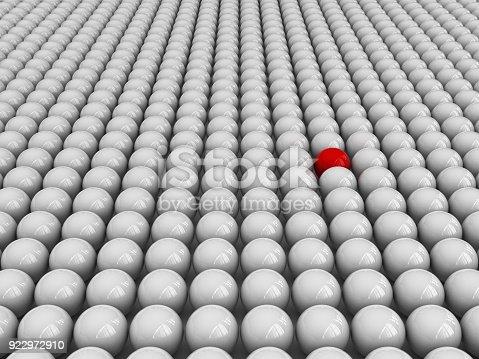 istock Spheres Pattern One Red - 3D Rendering 922972910