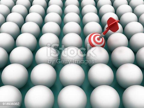 istock Spheres Pattern with Target - 3D Rendering 918938352