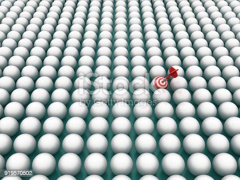 istock Spheres Pattern with Target - 3D Rendering 919570502