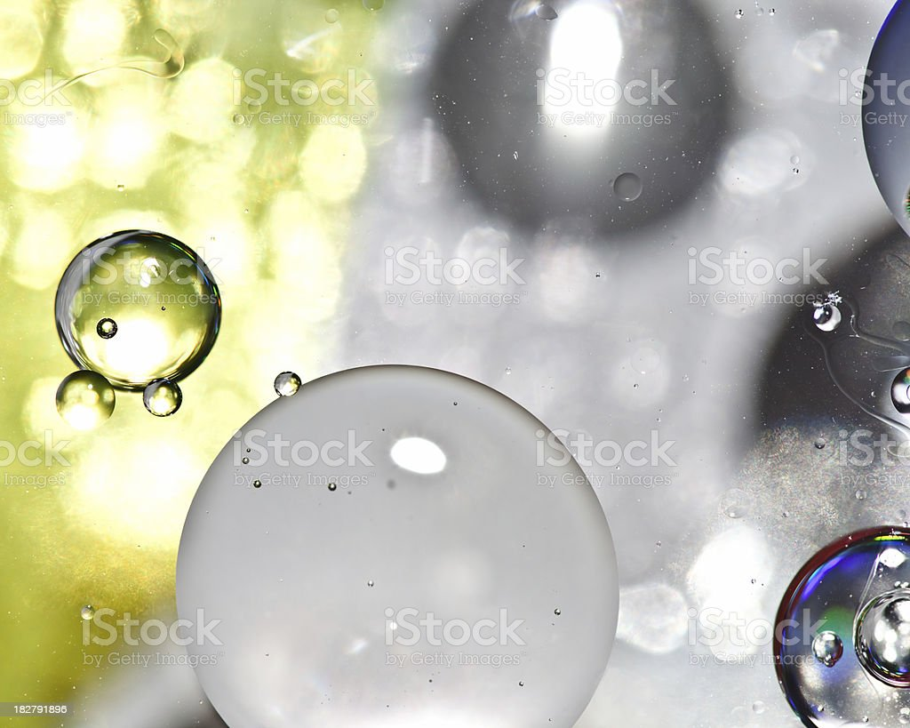 Oil spheres in water