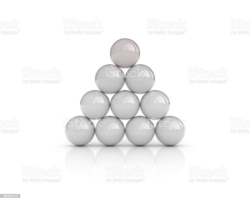 Spheres Pyramid - 3D Rendering royalty-free stock photo