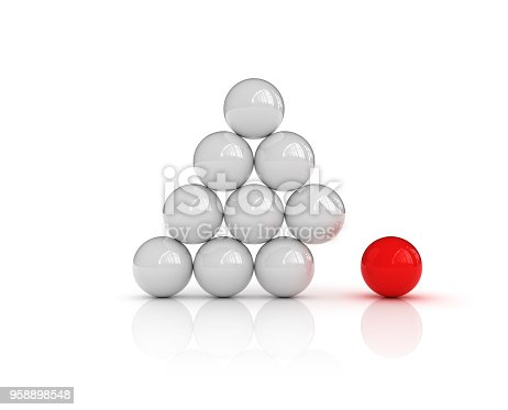 istock Spheres Pyramid One Red - 3D Rendering 958898548