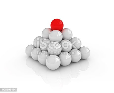 istock Spheres Pyramid One Red on Top - 3D Rendering 958898460