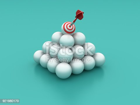 istock Spheres Pyramid with Target - 3D Rendering 921980170