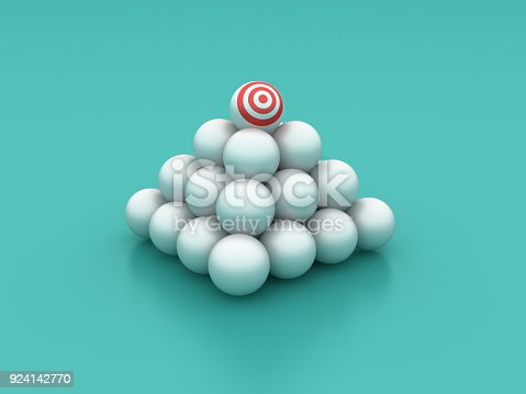 istock Spheres Pyramid with Target - 3D Rendering 924142770