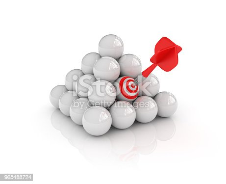 istock Spheres Pyramid with Target and Dart - 3D Rendering 965488724