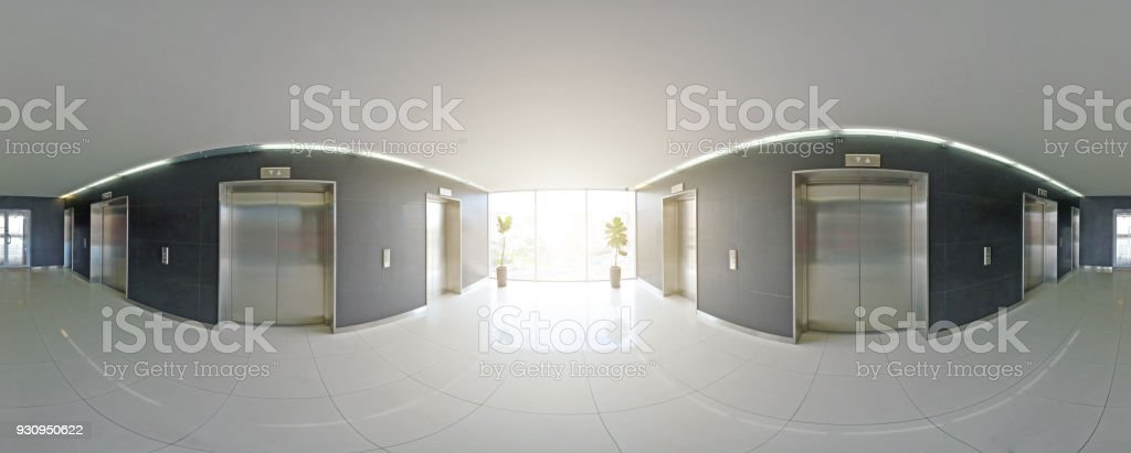 Spherical 360 degrees panorama projection, panorama in interior empty long corridor with doors and entrances to different rooms and lift. stock photo