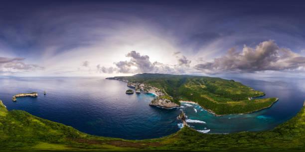 küresel, 360 derece, coastli sorunsuz, hava panoraması - mountain top stok fotoğraflar ve resimler