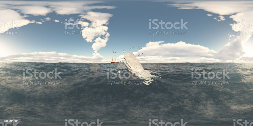 Spherical 360 degrees seamless panorama with sperm whale and whaling ship stock photo