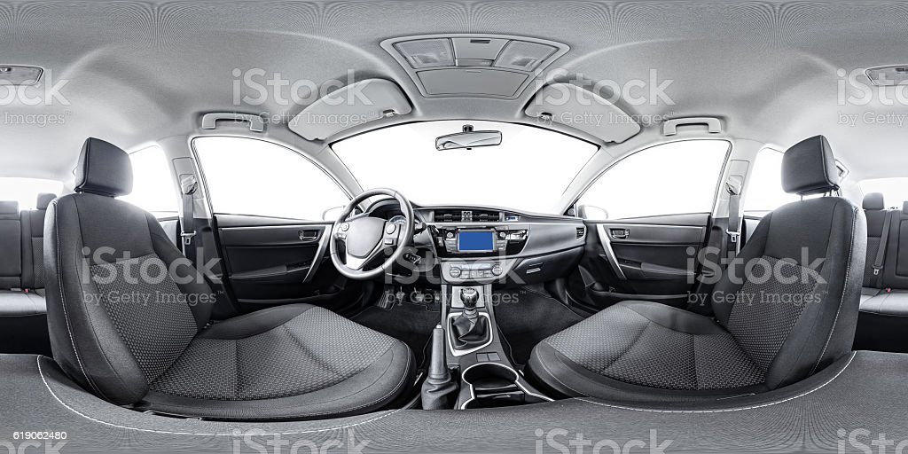 spherical 360 panorama of car stock photo