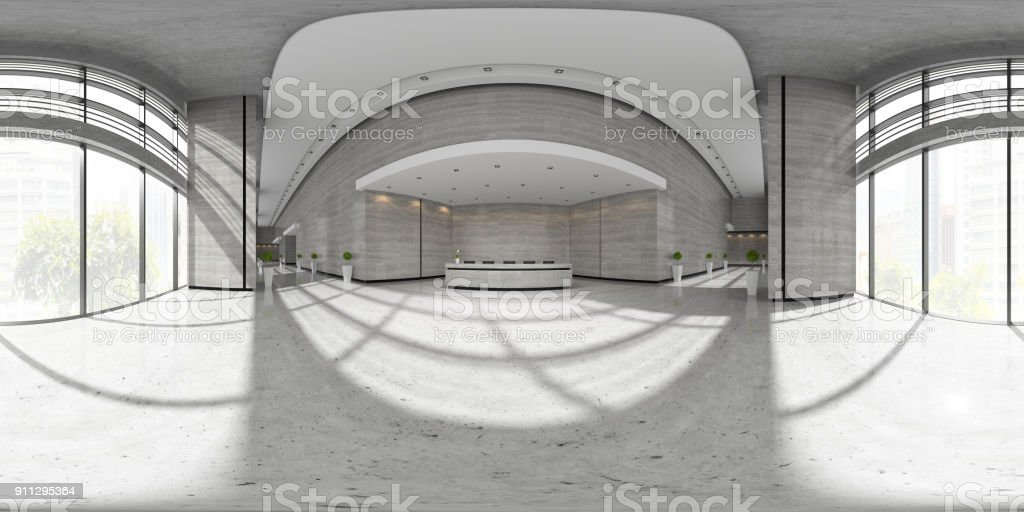 Spherical 360 panorama projection Interior of reception 3D illustration stock photo
